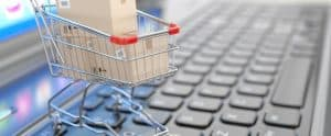 Small Shopping Cart on a Keyboard - E-Commerce Market Share