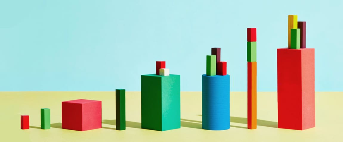 Pictures of various stacks of boxes in the shape of a graph